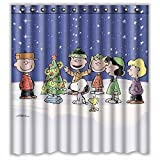 Generic Coconut Beach Sea Shell Seestern Sand Design Polyester-Wasserdicht-Badezimmer Custom Neuheit Duschvorhang 167,6 x 182,9 cm, Christmas and Snoopy, 66