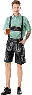 RONSHIN Men Bavarian National Suspender Pants and Short Sleeve Shirts Retro Pattern Clothes
