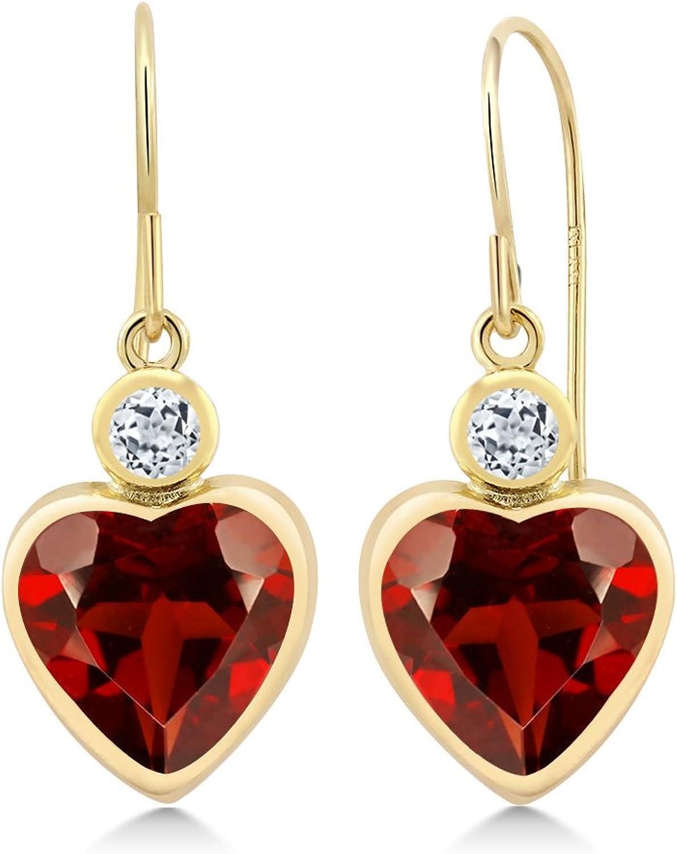 4.28 Ct Heart Shape Red Garnet White Topaz 14K Yellow gold Earrings