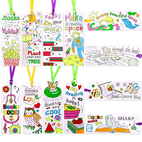 60pcs DIY Coloring Paper Bookmarks Color Your Own Bookmarks for Kids Gift Classroom Rewards Book Decoration Birthday Gift for Students Teachers