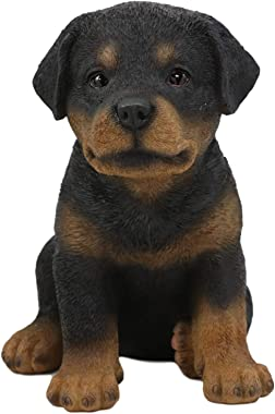 "Ebros Lifelike Realistic Sitting Rottie Rottweiler Puppy Dog Statue 6.25"" Tall Fine Pedigree Butcher's Dogs Breed Gallery Quality Collectible Decor with Glass Eyes Figurine"
