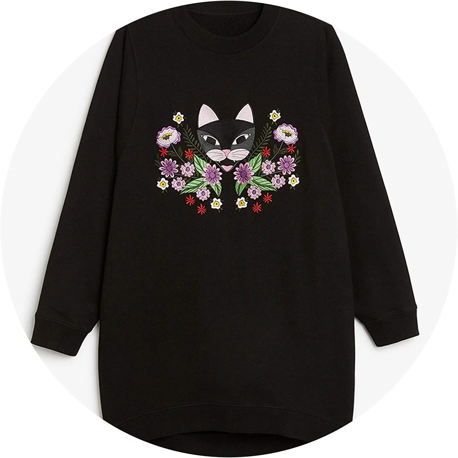 PursuitofselfCALong Sleeve Pocket 2018 Women Embroidery Sweatshirt