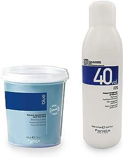 Fanola Dust- free Bleaching Blue Powder Hair Color Bleaches 500g and Fanola Perfumed Oxidizing Emulsion Cream Developer 40...