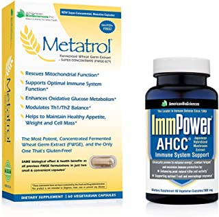 American BioSciences ImmPower 60 Count and Metatrol, All Natural Immune Support Bundle, AHCC and FWGE (Fermented Wheat Ger...