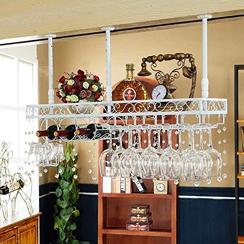 Hängendes Weinglasregal Umgedreht Weinbar Bar Bar hoch Kreativer Weinschrank Deko Kleiderbügel mit Kristalldekoration 9 Tassen 3 Flaschen-Weiß + Kristall_100cm * 25cm