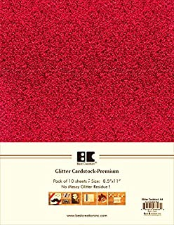 Best Creation A4 Glitter Cardstock Red 10 Piece