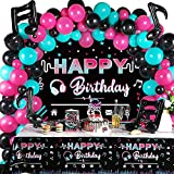 Music Happy Birthday Party Decorations Musical Social Media Birthday Party Supplies Includes Backdrop Tablecloth Music Note Balloons and Latex Balloons for Girls Music Birthday Party Photography