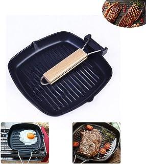 Eselltotal Pans Cast Iron Steak Grill Pans Non-Stick Frying Pan Wooden Handle Folding for Kitchen Fry Cooking Steak