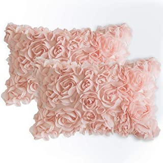 MIULEE Pack of 2 3D Decorative Romantic Stereo Chiffon Rose Flower Pillow Cover Solid Square Pillowcase for Sofa Bedroom Car 12x20 Inch 30x50cm Peach Pink