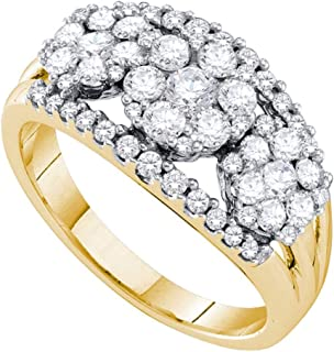 14kt Yellow Gold Womens Round Diamond Triple Cluster Ring 1-1/4 Cttw Ring Size 7
