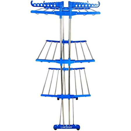 LAKSHAY Double Pipes Supports Drying Stand with Wheels Stainless Steel Floor Cloth Dryer Stand (Blue) - Made in India