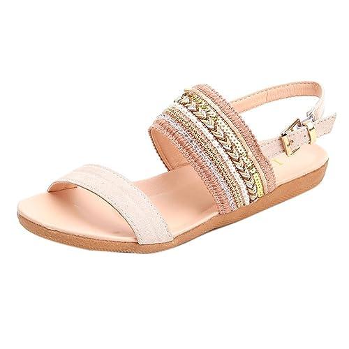 79ac69c972ce40 Luoluoluo Women Bohemian Sandals Girl Flip Slippers Woman Dew Toe Flat  Beach Gladiator Roman Shoes