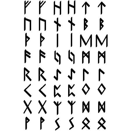 Samunshi Aufkleber Elder Futhark Runen Set Für Auto Motorrad In 9 Größen Und 25 Farben 20x30cm Schwarz Küche Haushalt