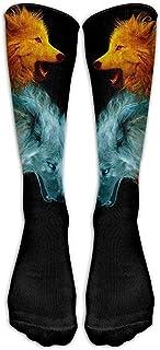 ulxjll, Calf Sock Ice And Fire Wolf Art All Shoe Niños Niñas Rodilla Transpirable Calcetines Largos Personalizados Medias Divertidas De Viaje 50Cm