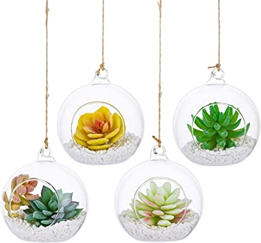 "Nuptio 4 Pcs Hanging Glass Globe, 4"" Diam Tea Light Candle Holders Home Wedding Party Centerpieces Decor Indoor Outdoor Tealight Candleholders"
