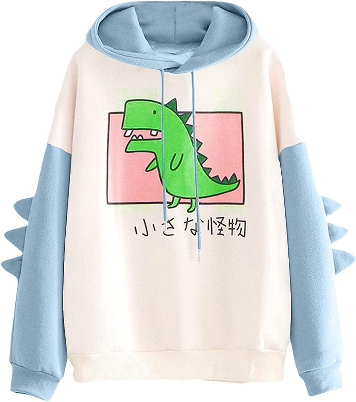 Lykmera Cute Hoodies for Women, Cartoon Dinosaur Hoodies for Teen Girls Patchwork Sweatshirt Long Sleeve Sweatshirt