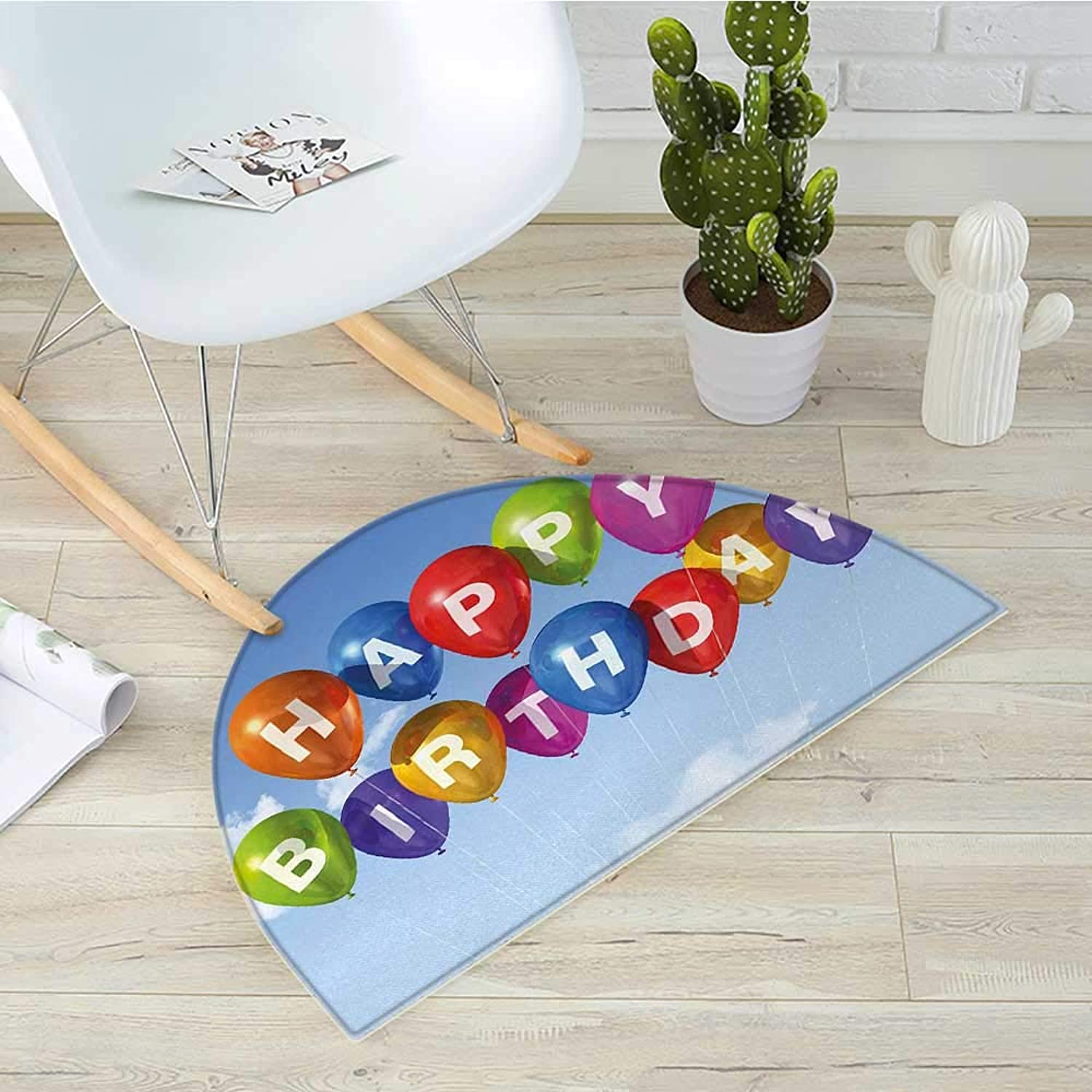 Birthday Semicircular Cushioncolord Celebration Balloons with Letters in The Clear Sky White Clouds Happiness Entry Door Mat H 39.3  xD 59  Multicolor