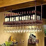 FBBSZSD Estante para vinos/Soporte para Copa Colgante Mostrador de Barra Retro Estante para vinos Colgante en el Techo Soporte para Copas de Vino de Almacenamiento Decorativo de Hierro d