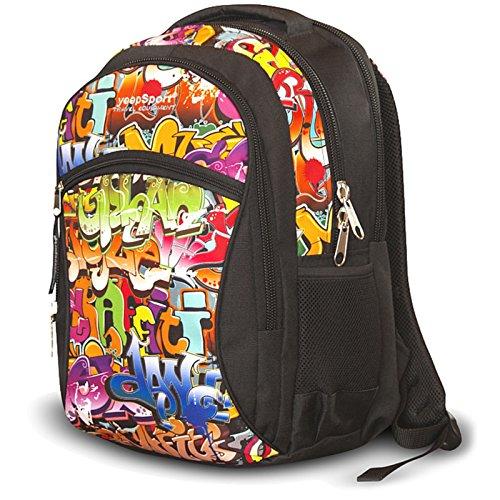 Zaino scuola media per ragazzi e ragazze, realizzato in EU - Premium - yeepSport S94dx (Graffiti)