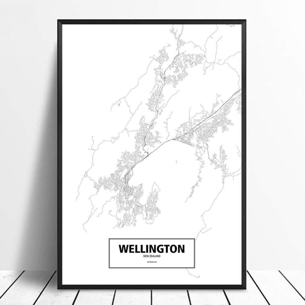 SQSHBBC Wellington Nueva Zelanda Negro Blanco Personalizado Mapa de la Ciudad Mundial Cartel Impresión en Lienzo Estilo nórdico Arte de la Pared Decoración para el hogar40X60CM sin Marco: Amazon.es: Hogar