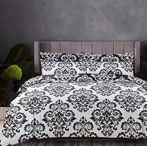 Linen Zone 5 Piece 300 Thread 100% Egyptian Cotton Sateen Reversible Duvet Cover Set (New Damask, King)