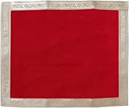 Shoppersduniya Multipurpose Red Velvet Aasan for Puja Cloth Mat | Mandir, Temple, Home, Office, Base, Chawki, Slab