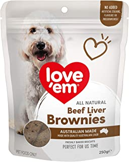 Love Em Dog Food Natural Beef Liver Brownie Treats 250g