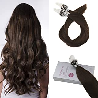 Moresoo 16 Inch Loops Micro Rings Beads Tipped Remy Human Hair Extensions Soft Straight 100% Real Human Hair Extensions Brown #4 Human Hair Extensions