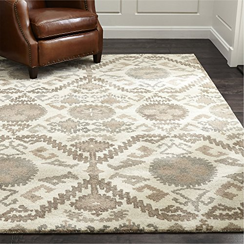 Crate and Barrel Orissa Neutral Traditional Persian Handmade 100% Wool Rugs & Carpets (9'x12')