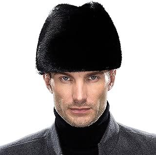 Men's Mink Full Fur Russian Cossack Hat Fedora Cap