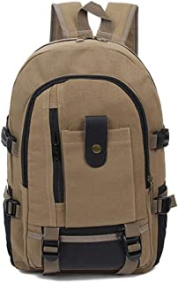 Rjj Retro Backpack Men's Outdoor Riding Hiking Bag Casual Canvas Bag Female Fashion Trend Large Capacity Computer Bag Exquisite (Color : Yellow)
