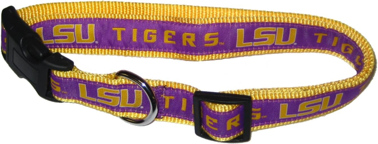 Large 18-30 LSU TIGERS Plaid Dog Collar