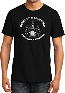 GeekDawn Graphic Printed T-Shirt|Hyderabad T-Shirt|Ancient|Monument|Mosque|Symbol of Hyderabad|Charminar T-Shirt|Half Sleeve T-Shirt|Round Neck T-Shirt|100% Cotton T-Shirt|Gift|Gifting