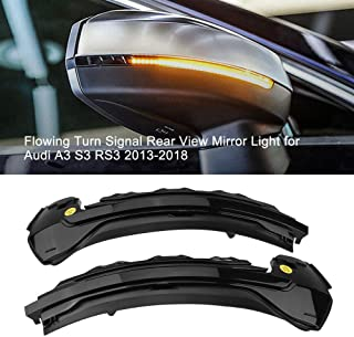 A Pair LED Dynamic Turn Signal Light Side Rear Mirror Indicator for AUDI A3 S3 RS3 8V,Black Shell