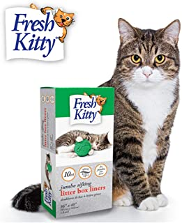 Fresh Kitty Durable, Easy Clean Up Elastic Jumbo Sifting Litter Pan Box Liners, Bags for Pet Cats, 10 ct