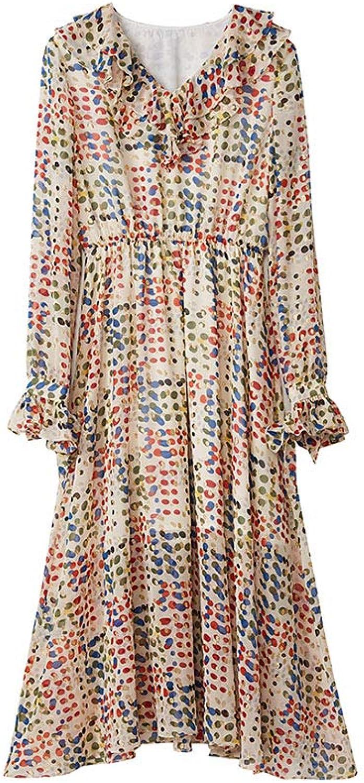 Spring Women's Dress  Sweet Ruffled VNeck High Waist Print Waist Sleeve Dress