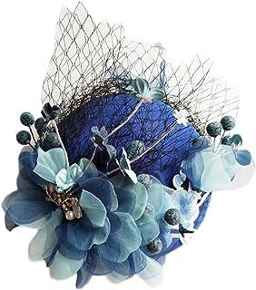 ZOO 花嫁のスモールハットガーゼヘッドドレス刺繍手作りのフラワーギャラリーアクセサリー。 (色 : 青)