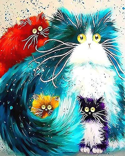 WONZOM Malen nach Zahlen DIY Acrylfarben Gemälde Kit für Erwachsene & Kinder Anfänger - 4 Bunte Katzen Enthält 3 Pinsel und Acrylfarben 16x20 Zoll