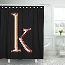 Jszna Shower Curtain Sparking Shiny Pink Gold Lowercase Small Letter K Shower Curtains Sets with 12 Hooks 60 x 72 Inches Waterproof Polyester Fabric