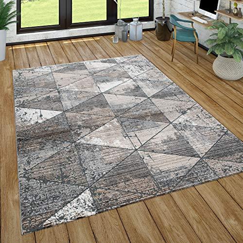 Paco Home Teppich Wohnzimmer Kurzflor Abstraktes Geometrisches Muster, Versch. Farben Größen, Grösse:160x230 cm, Farbe:Beige