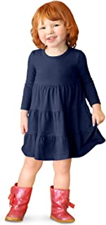 Girls' Super Soft Cotton Long Sleeve Tiered Dress Princess
