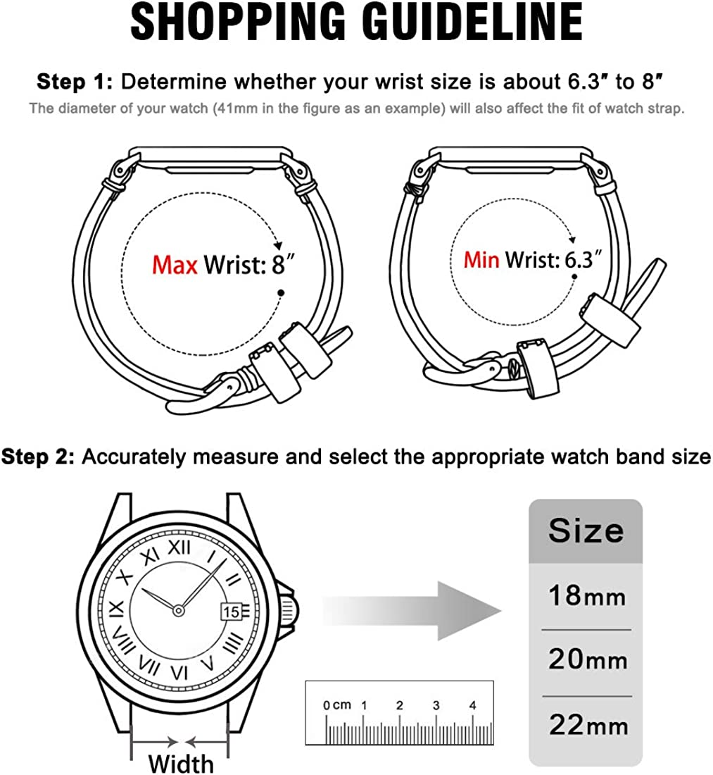 Ritche Quick Release Leather Watch Band 18mm 20mm 22mm Genuine Watch Strap for Men and Women