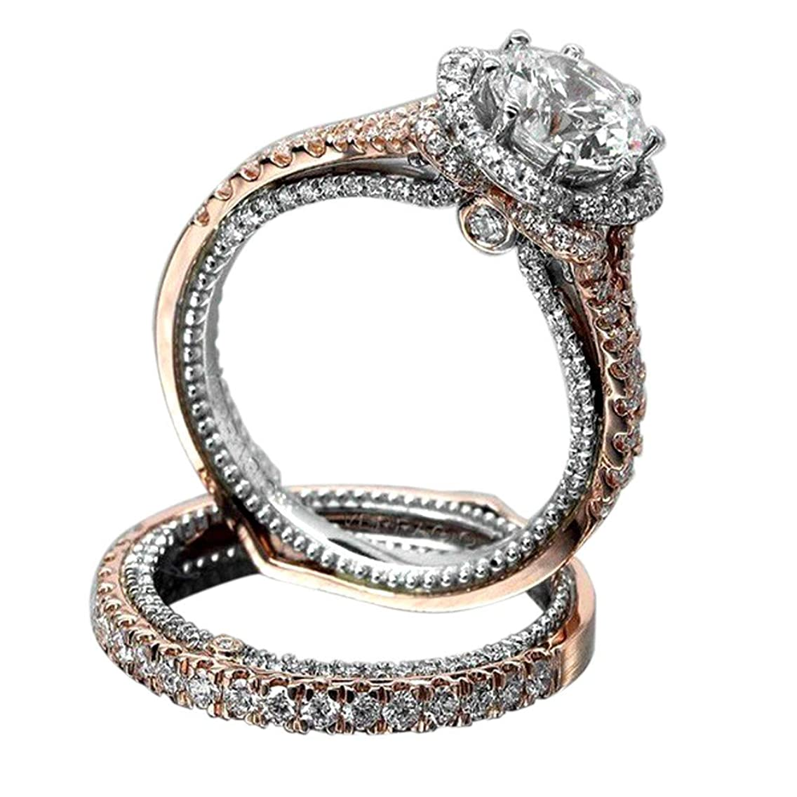 Ximandi Vintage Rose Gold Filled Diamond Ring Wedding Bridal Women's Jewelry