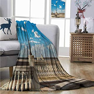 Homrkey Throw Blanket Italian Mascagni Terrace Street Promenade of Livorno Tuscany Artwork Print for Summer W54 xL72 Sky Blue White and Black