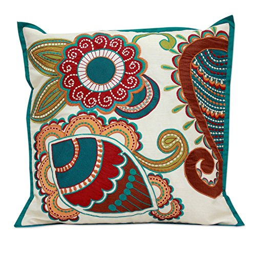 NOVICA Hand Stitched Floral Throw Pillow, Handmade in India Paisley Garden' Applique Cushion Cover