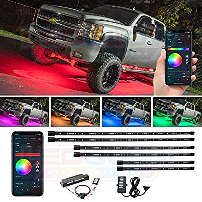 LEDGlow 6pc Bluetooth Million Color Truck LED Underbody Underglow Accent Lighting Kit - Smartphone App - Courtesy Lights - Create Any Color - Water Resistant - Control Box & Wireless Remotes