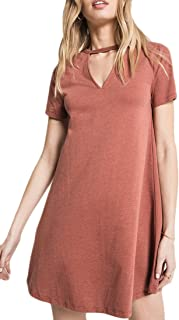 Z Supply ZD182399 The Cut Out Front Tee Dress in Clay