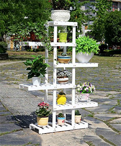 En bois massif Fleur rack Planteur Stand de fleur Pot Shelf Salon Balcon Flower Pot Rack Blanc Marron (couleur : Blanc, taille : 125CM)