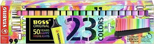Surligneur - STABILO Boss Original - Set de Bureau X 23 Surligneurs - Fluo et Pastel Assortis EO7023-01-5