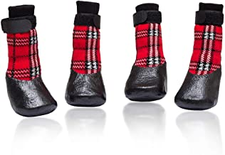 Macroyard Non-Slip Dog Socks with Fixed Straps Waterproof Paw Protector for Indoor & Outdoor, Plaid Pattern